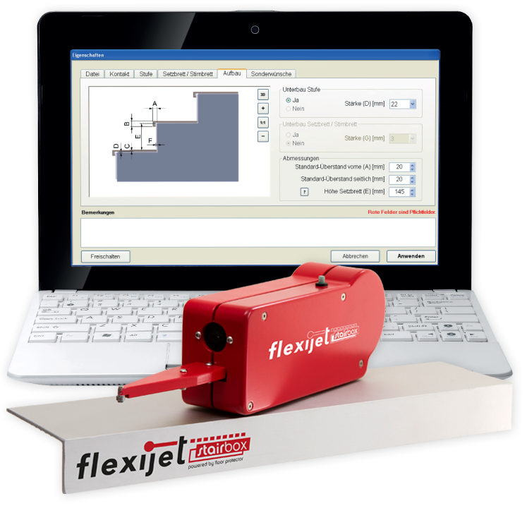 Flexijet Stairbox und PC mit Stairbox-Software